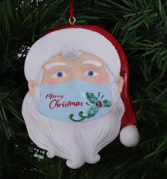 "Merry Christmas Santa Wearing Mask Ornament, 4 1/4"", KAA2092"
