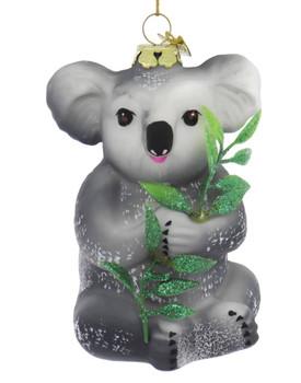 2 pc Australia Wildlife Kangaroo and Koala Glass Ornaments Koala front