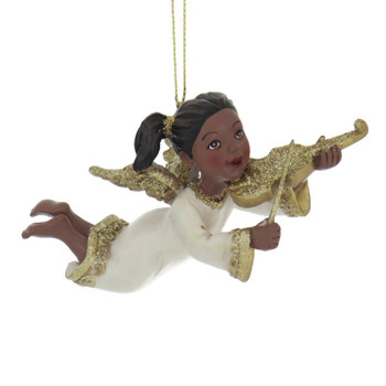 Golden Wings and Instrument Flying Black Angel Ornament violin front side