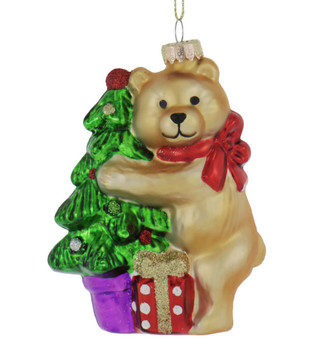 Brown Teddy Bear with Tree Glass Ornament