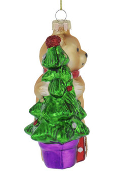Brown Teddy Bear with Tree Glass Ornament front