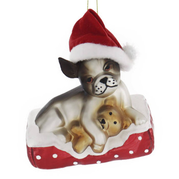 Chihuahua with Teddy Glass Ornament