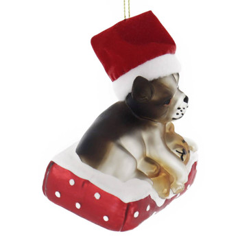 Chihuahua with Teddy Glass Ornament side