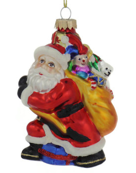 Busy Santa with Bag of Gifts Glass Ornament