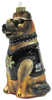 K-9 Police German Shepherd Dog Glass Ornament
