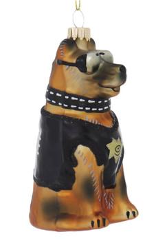 K-9 Police German Shepherd Dog Glass Ornament right side