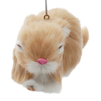 Adorable Furry Beige Sleeping Baby Rabbit Ornament Front