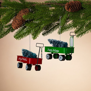 """Red or Green Metal Wagon with Tree Ornament, 4 1/2 x 4 1/4"""", ST2433840"""