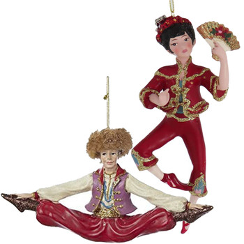 Set of 4 International Dancer Ornaments Chinese Russian front