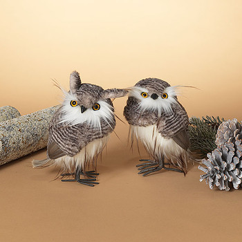 """Grey Stripes Plush Faux Fur and Feathers Owl Figurine, 7 - 7 1/2"""", ST2540410"""