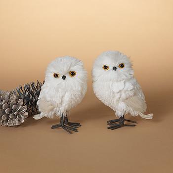 "White Plush Fibers and Feathers Owl Figurine Decor, 6 1/4"", ST2540380"