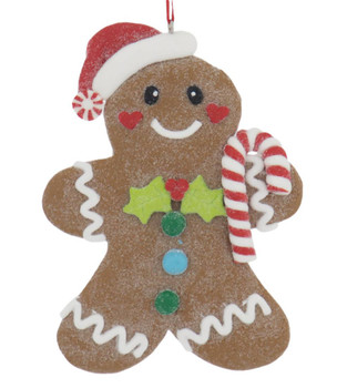 Claydough Glazed Cookie Ornament candy cane front