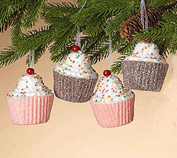 """Set of 4 Lightweight Holiday Cupcake Ornaments, 3 1/2"""", ST2548940 SET (2 of each color)"""
