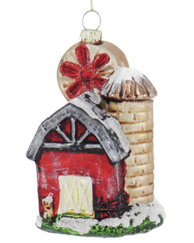 Red Barn with Windmill and Silo Glass Ornament
