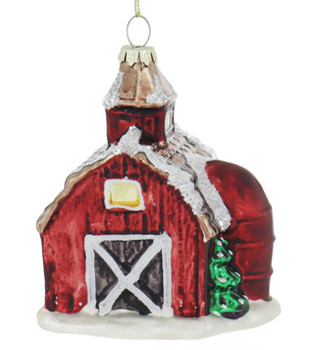 Red Barn with Red Silo Glass Ornament