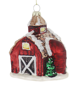 Red Barn with Red Silo Glass Ornament front side