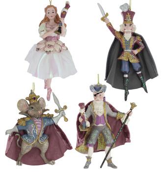 Set of 4 Beloved Nutcracker Ballet Ornaments