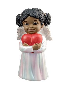 "Black Cherub with Loving Heart Figurine, 5 1/4"", PG15234"