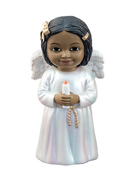 "Black Cherub with Candle Figurine, 5 1/4"", PG15235"