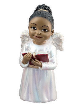 "Black Cherub Singing with Hymnal Figurine, 5 1/4"", PG15237"