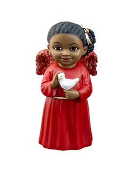 Black Cherub in Red Gown with Bird Figurine, PG15240