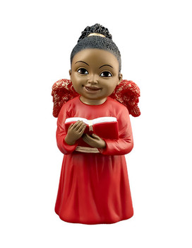 """Black Cherub in Red Gown Singing with Book Figurine, 5 1/4"""", PG15247"""