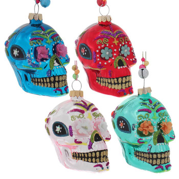 Set of 4 Small Flower Eyes Day of the Dead Skull Glass Ornament