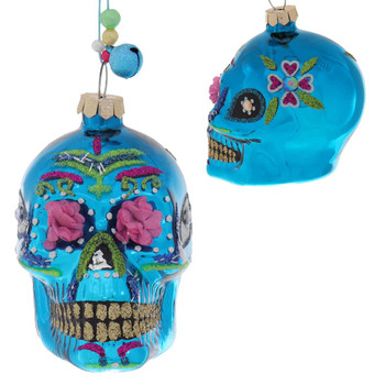 Set of 4 Small Flower Eyes Day of the Dead Skull Glass Ornament blue front side