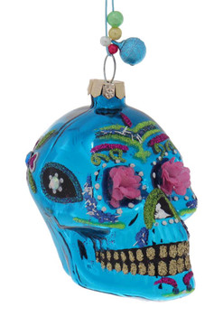 Small Flower Eyes Day of the Dead Skull Glass Ornament blue right side
