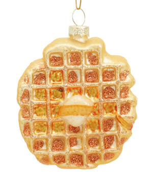 Buttered Gold Waffle Glass Ornament