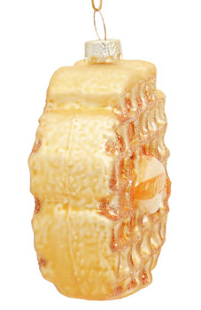 Buttered Gold Waffle Glass Ornament Side