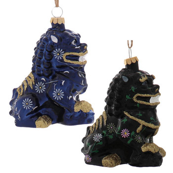 Black or Blue Chinese Foo Dog Glass Ornament