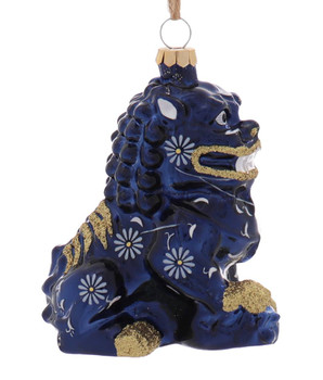 Black or Blue Chinese Foo Dog Glass Ornament Blue Right Side