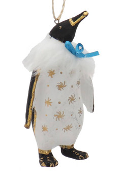 Fun Paper Mache Formal Party Penguin Ornament blue box right side front