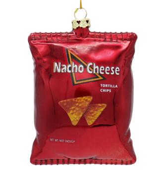Nacho Cheese Tortilla Bag of Chips Glass Ornament