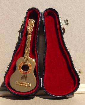 "Brass Plated Mini Folk Guitar Decor with Case, Display Stand - 3 pc Set, 6"", HI_14770"