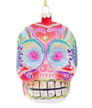 Rainbow Day of the Dead Skull Glass Ornament Front