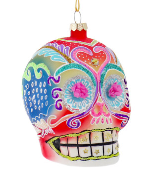 Rainbow Day of the Dead Skull Glass Ornament