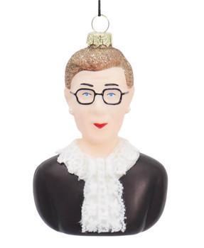 Ruth Bader Ginsberg RBG Bust Glass Ornament