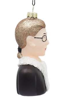 Ruth Bader Ginsberg RBG Bust Glass Ornament Right Side