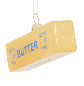 Stick of Butter Glass Ornament Side Front