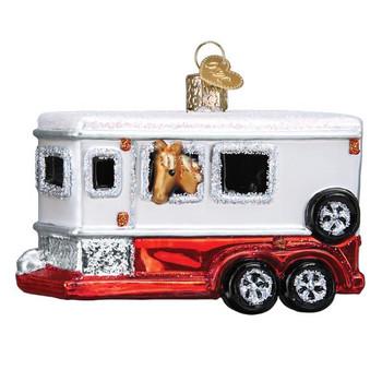 Horse Trailer Glass Ornament
