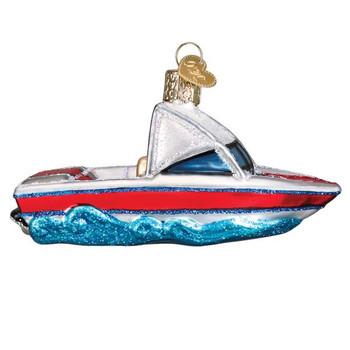 Ski Boat Glass Ornament