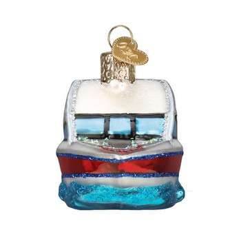 Ski Boat Glass Ornament back