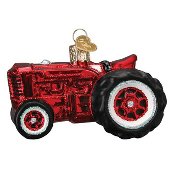 Old Farm Tractor Glass Ornament