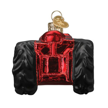 Old Farm Tractor Glass Ornament front