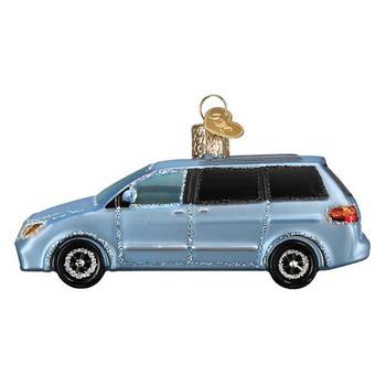 Soccer Mom Minivan Glass Ornament
