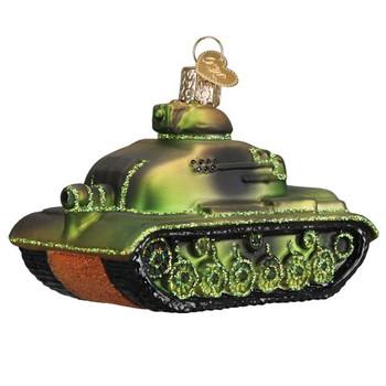 Military Tank Glass Ornament