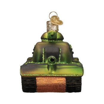 Military Tank Glass Ornament front