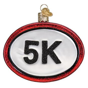 5K Run Glass Ornament